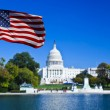 USA Flag and Capitol Building — Stock Photo