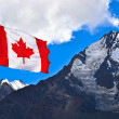 Canada flag and mountains — Stok fotoğraf