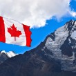 Canada flag and mountains — Stock Photo