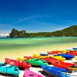 Colored boats on the beach — Stock Photo #32879527