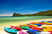 Colored boats on the beach — Stock Photo