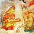 Постер, плакат: Fresco with two Sigiriya maiden with fruits