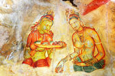 Fresco with two Sigiriya maiden with fruits — Stock Photo
