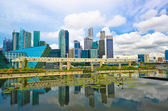 Singapore skyline reflect on water — Stock Photo