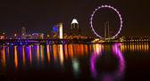 Singapore skyline at night — Stockfoto
