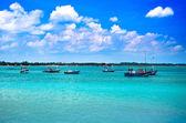 Boats on blue sea — Stock Photo
