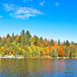 Autumn forest reflecting in calm lake — Stock Photo