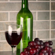 Grapes, wine glass and bottle — Stock Photo