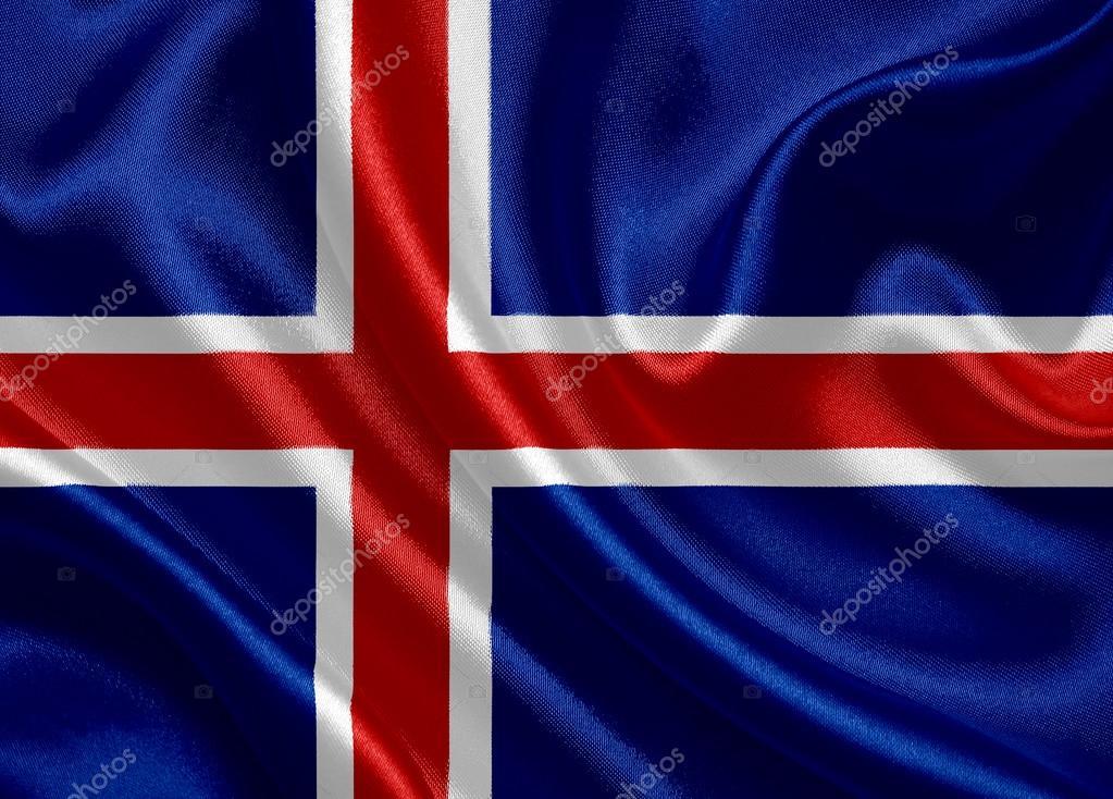 挥舞着国旗的冰岛– 图库图片