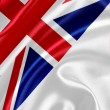 English flag on silk fabric — Stock Photo