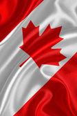 Canada flag on silk fabric — Stock Photo