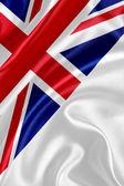 English flag on silk fabric — Stock Photo