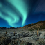 Green northern lights aurora borealis — Foto Stock