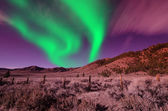 Green northern lights aurora borealis — Stock Photo