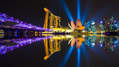 Singapore city skyline at night — Zdjęcie stockowe