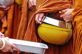 NONGKHAI CITY, THAILAND, Morning at October 20, 2013 : Thai people give food for thai monk — Stock Photo