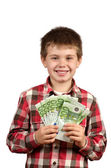 Boy showing his money — Stock Photo