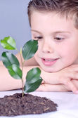 Ecologist child — Stock Photo