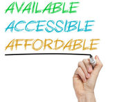 AAA for available, accessible and affordable — Stock Photo