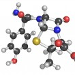 Amoxicillin beta-lactam antibiotic drug, chemical structure. — Stock Photo #33769907