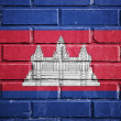 Cambodia flag on brick wall — Stock Photo