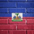 Haiti flag on brick wall — Stock Photo