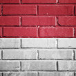 Indonesia flag on a textured brick wall — Stock Photo