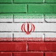 Iran flag on brick wall — Stock Photo