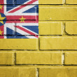 Niue flag on brick wall — Stock Photo