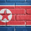 North Korea flag on brick wall — Foto Stock