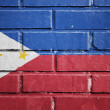 Philippines flag on brick wall — Stock Photo