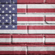 United states flag on brick wall — Stock Photo