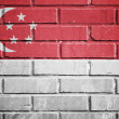 Singapore flag on a textured brick wall — Photo