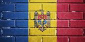 Moldova flag on brick wall — Stock Photo