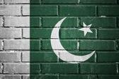 Pakistan flag on a textured brick wall — Stock Photo