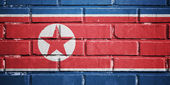 North Korea flag on brick wall — Stock Photo