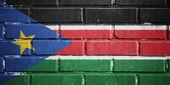 South Sudan flag on brick wall — Stock Photo