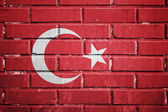 Turkey flag on a textured brick wall — Stock Photo