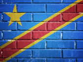 Democratic republic of the Congo flag on a textured brick wall — Stockfoto