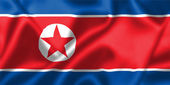 North Korea flag blowing in the wind — Stock Photo
