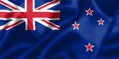 New Zealand flag blowing in the wind — Stock Photo