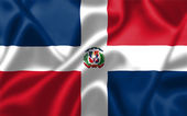 The Dominican Republic flag blowing in the wind — Stock Photo