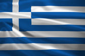 Greece flag blowing in the wind — Stock Photo