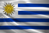Uruguay flag blowing in the wind — Stock Photo
