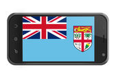 Fiji flag on smartphone screen isolated — Stock Photo