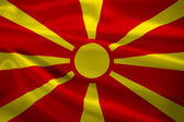 Macedonia flag blowing in the wind — Stock Photo