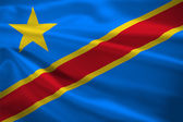 Democratic republic of the Congo flag blowing in the wind — Stock Photo