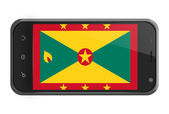 Grenada flag on smartphone screen isolated — Zdjęcie stockowe