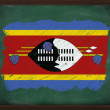 Swaziland flag painted with chalk on blackboard — Stock Photo