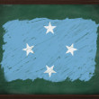 Micronesia flag painted with chalk on blackboard — Stock Photo